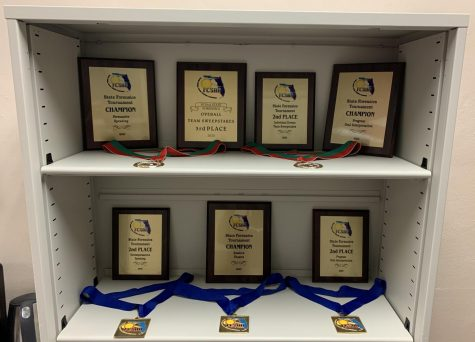 The award shelf of the CF Forensics team.